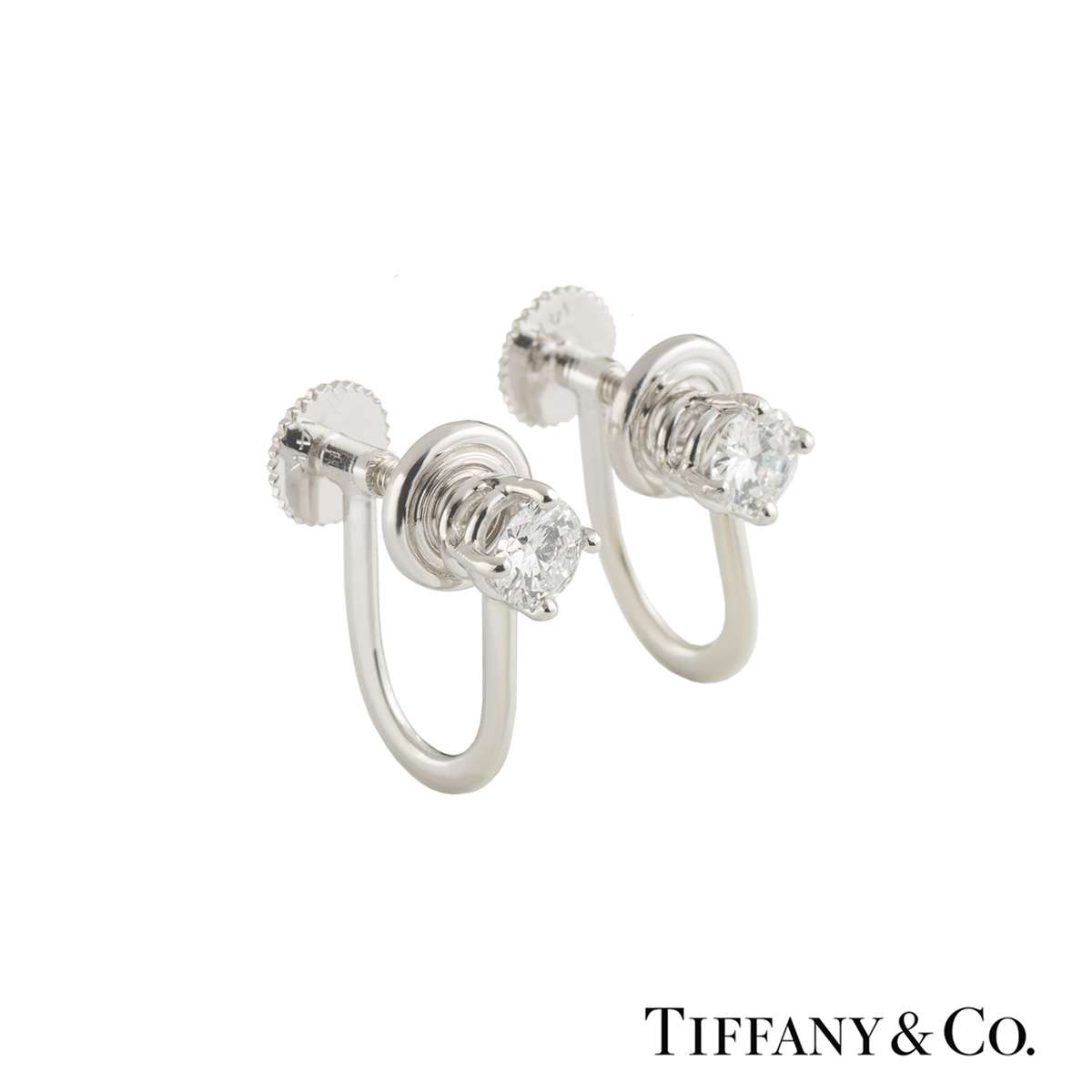 Tiffany & Co. Platinum Diamond Earrings 0.66ct F/VS+